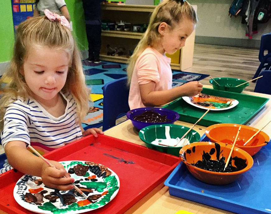 girls doing art at a Preschool & Daycare Serving North Hollywood, Santa Monica & Van Nuys, CA